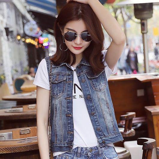 f43ead0a2f1c Plus Size New Summer Jacket Sleeveless Casual Slim Jeans Vest Vintage  Fashion Short Paragraph Denim Vest Women