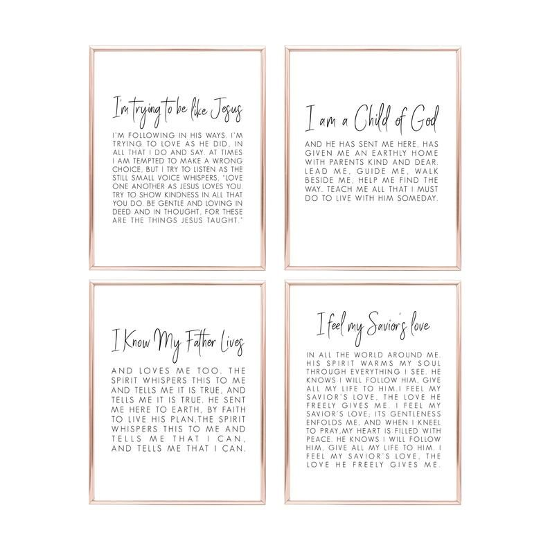 Printable Set Of 4 Lds Wall Art Lds Print Printable I Am A Etsy Lds Decor Lds Art Primary Songs
