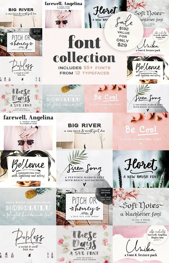 2018 Font Bundle by Ana's Fonts on Creative Market This Font Collection includes...