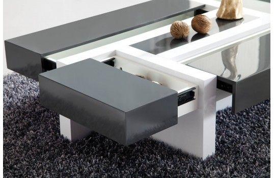Table Basse Avec Tiroir De Rangement.Belle Table Basse Modulable 4 Tiroirs Noire Et Blanche