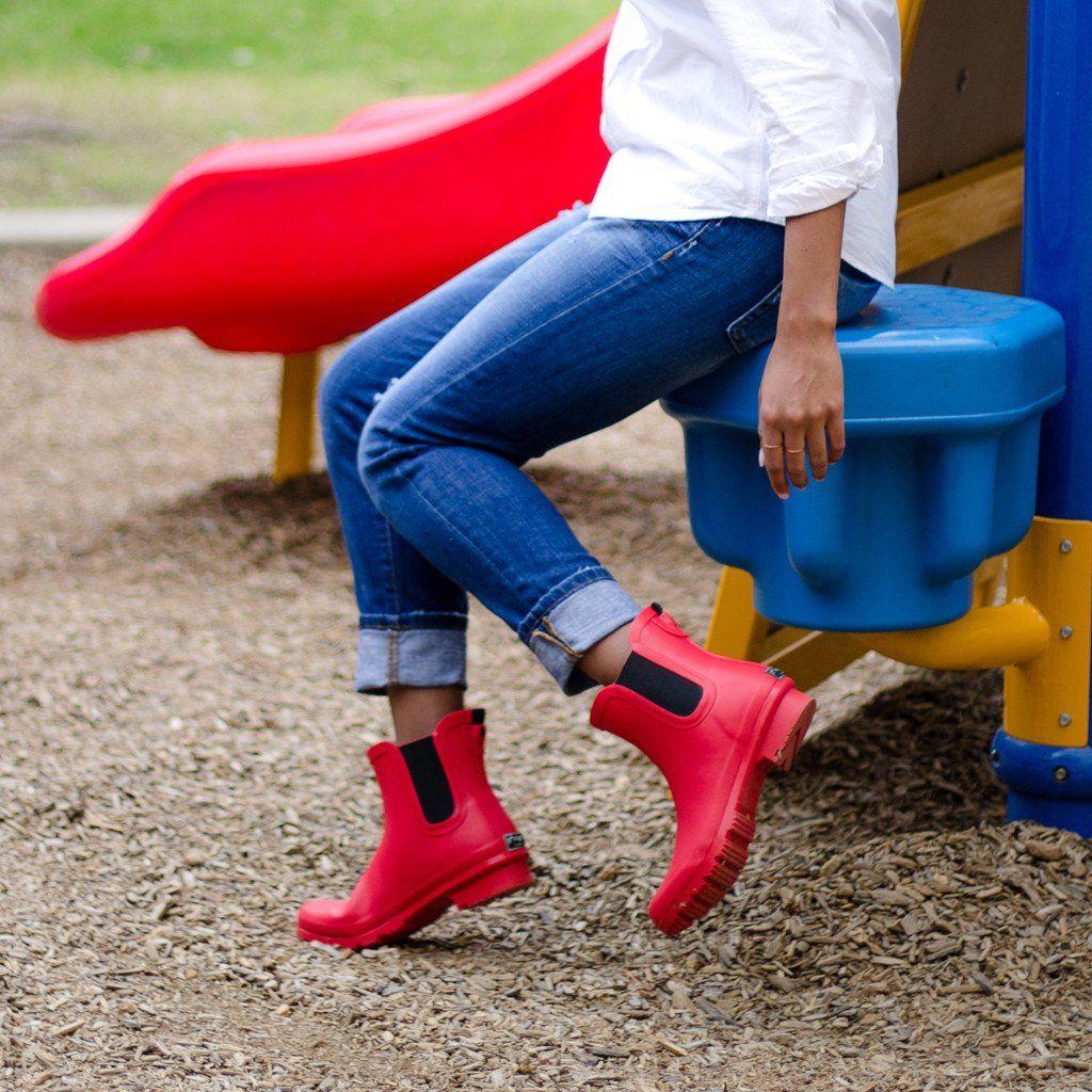 CHELSEA MATTE RED WOMEN'S RAIN BOOTS