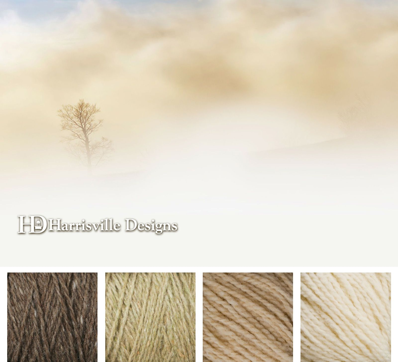 One lonely tree. Neutral Fog Color Palette. @Terri Scoville Designs yarn colors: Toffee, Sand, Pebble, and White