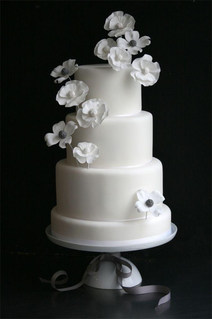Grey and white wedding cake.