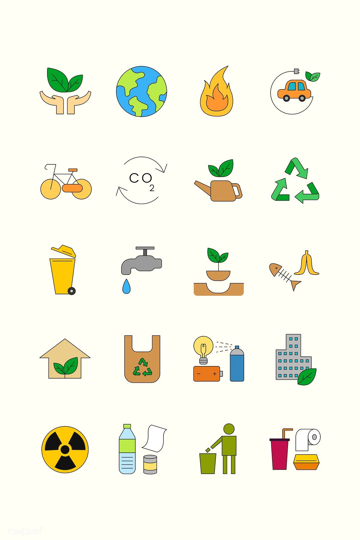 Environment icon design elements vector set free image
