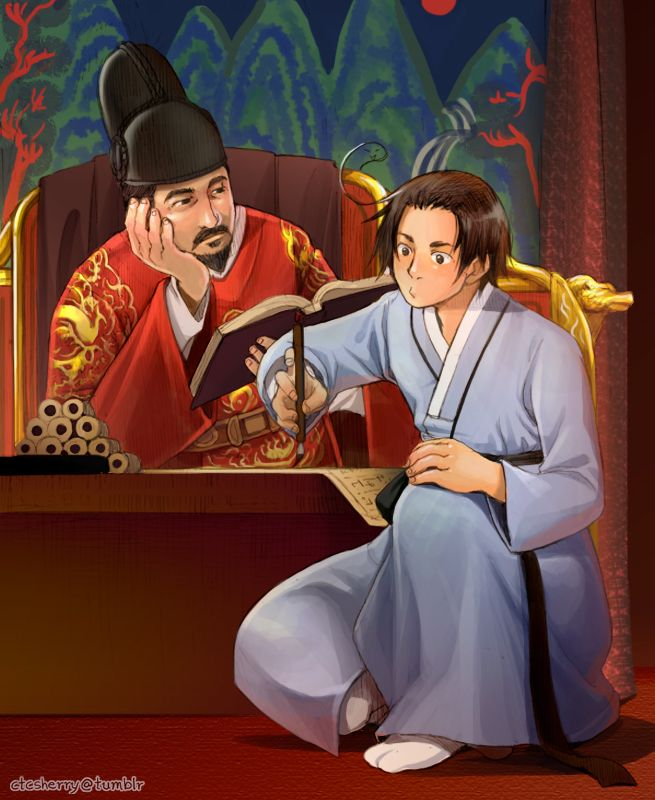 Yong-Soo with Sejong the Great - Coloured version of http://www.pinterest.com/pin/398076054535179024/ - Art by ctcsherry.tumblr.com