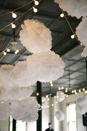 DIY paper pompoms - shower decor idea