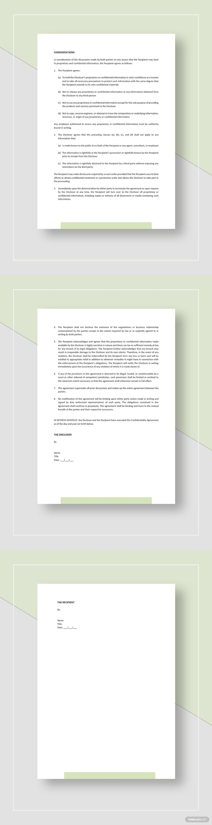 Legal Confidentiality Agreement Template Free Pdf Word Apple Pages Google Docs Words Templates Word Doc