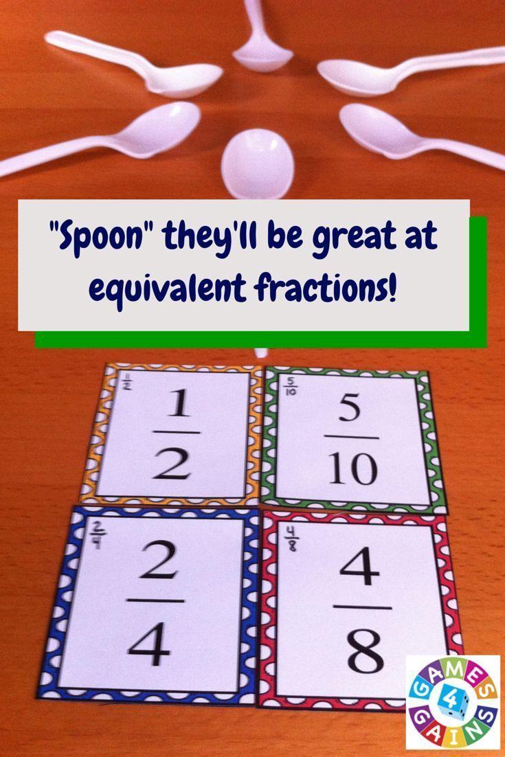 Equivalent Fractions Game of \'Spoons\' | Teacher\'s Helper | Pinterest