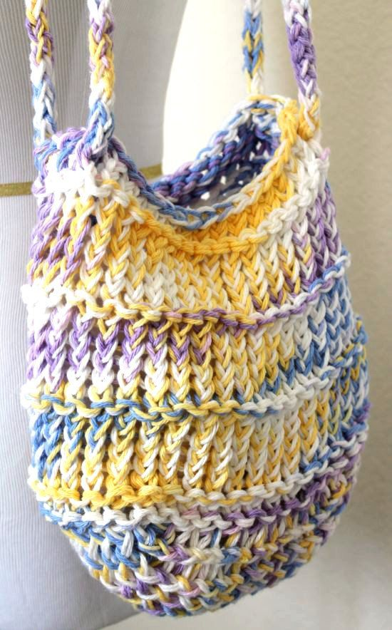 Loom Knit Bag Cotton Mesh Pastel Tote Books Worth Reading Gorgeous Round Loom Knitting Patterns