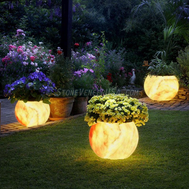 Light Up Your Backyard Or Pool Area With This Backlighting Stone Veneer Planter Backlitdecor Com Solar Lights Garden Garden Design Backyard Garden