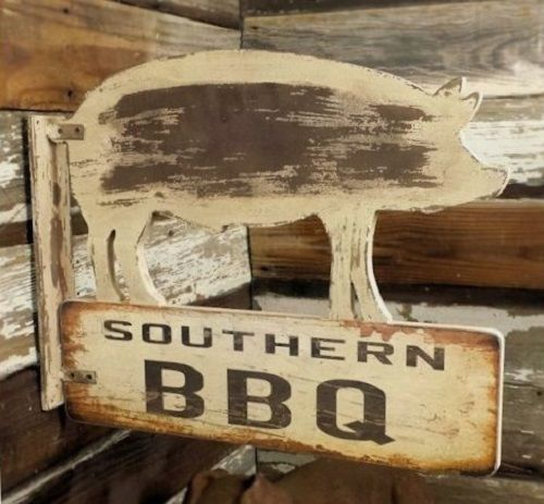 BBQ Southern PIG Hog Wood SIGN*Primitive/French Country
