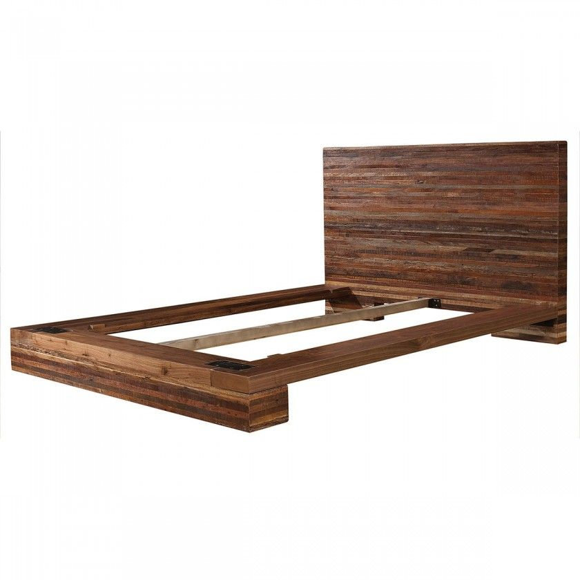 Bedroom Dark Brown Painted Teak Wood Low Profile Bed Frame With