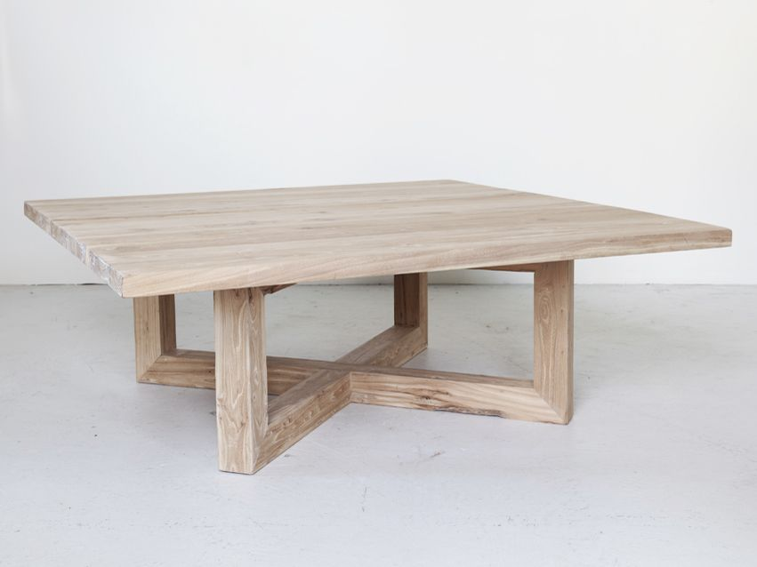 square recycled elm wooden coffee table