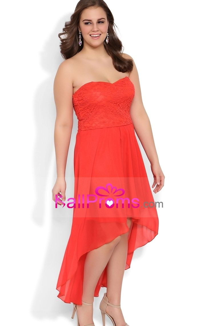 Plus size sweetheart high low dress with lace bodice chiffon high