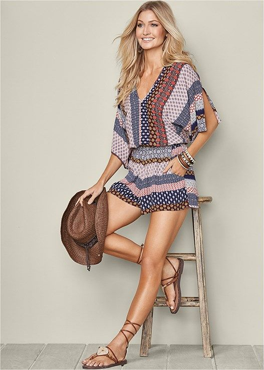 Mixed Print Romper Lace Up Gladiator Sandal