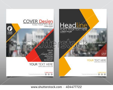 Yellow and red annual report brochure flyer design template vector - annual report cover template