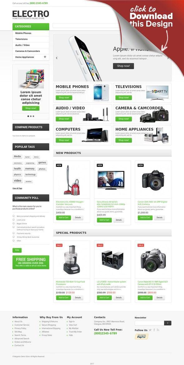 Responsives Magento Theme für Elektronikgeschäft E-commerce Vorlagen ...