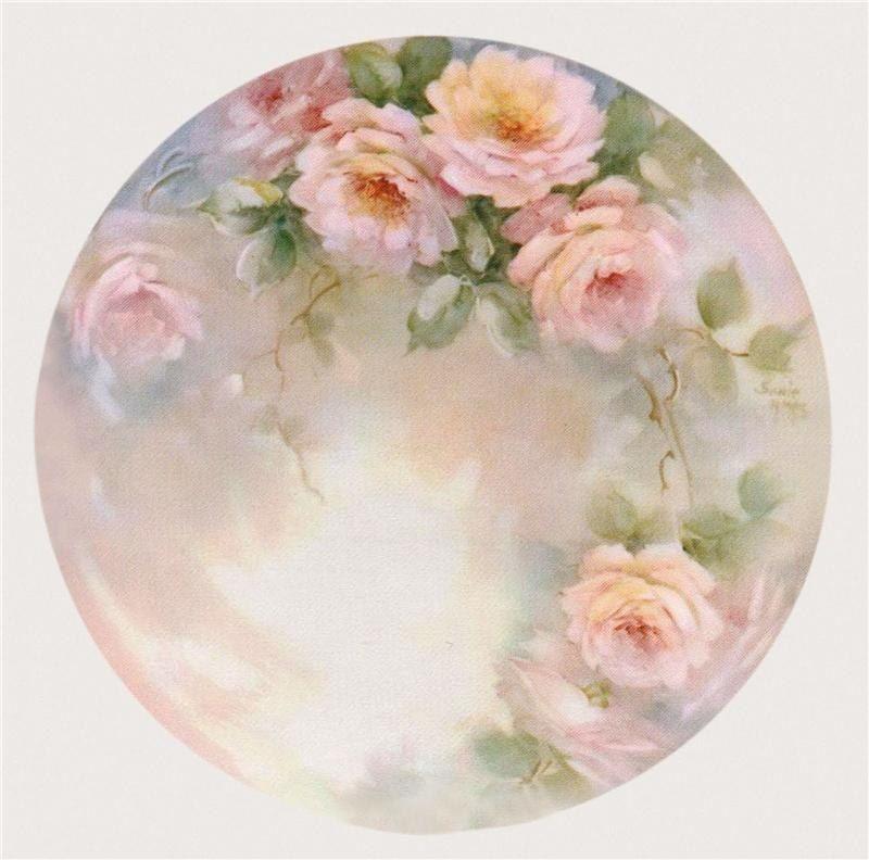 Рисунок карандашом, круглые открытки с цветами