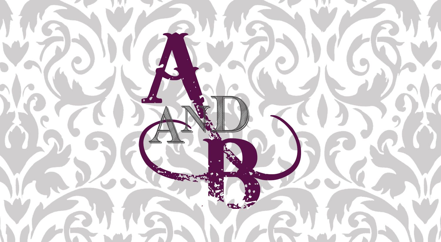 Custom logo.  Damask with trashy script font.  Gatsby & Downton Abbey theme wedding.  Design by Sunrise Styling