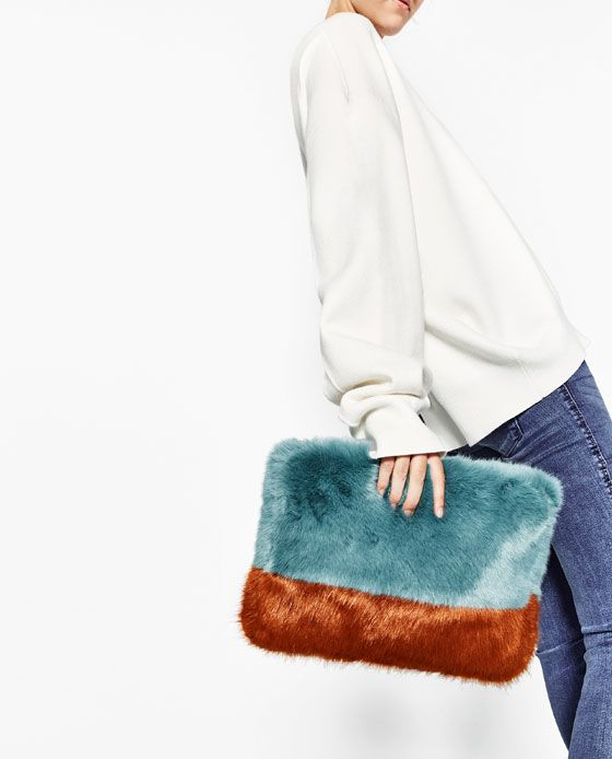 Image 4 Of Faux Fur Two Tone Clutch Bag From Zara