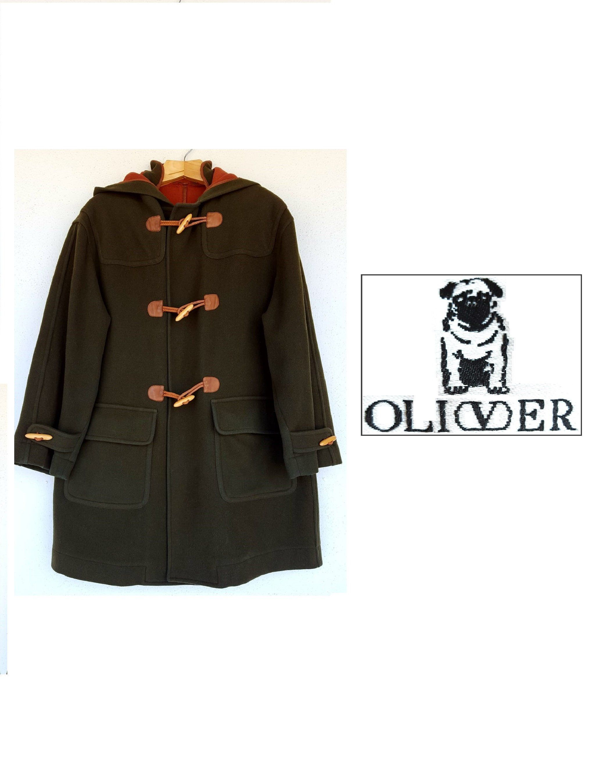 OLIVER by VALENTINO GARAVANI Montgomery Cappotto 80s in pesante tessuto  misto lana verde loden 058aa4ce354