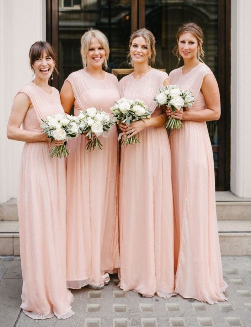 Lovely Cute Baby Pink Long Bridesmaid Gowns Blue Peach Ivory Champagne Silver