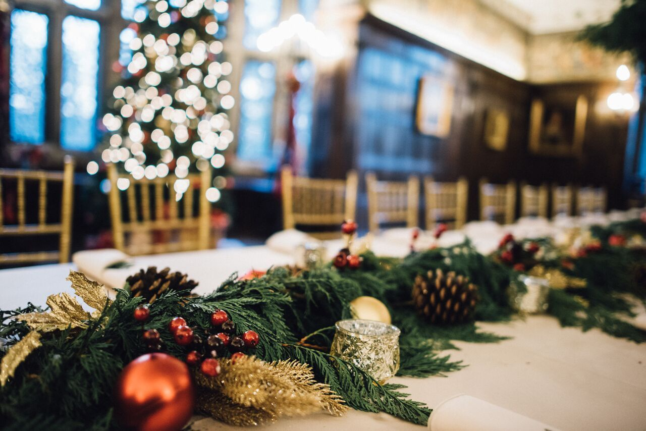 Holiday party decor in the historic Common Room at Salisbury House and Gardens.     Photo credit: Jessica Dean