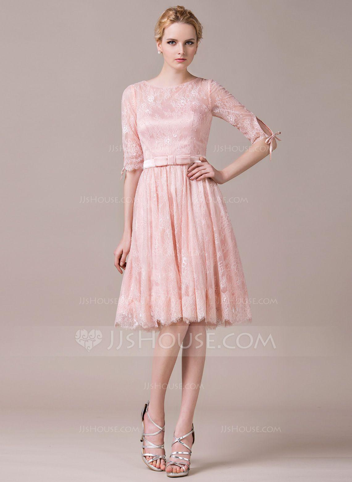 A-Line/Princess Scoop Neck Knee-Length Charmeuse Lace Bridesmaid ...