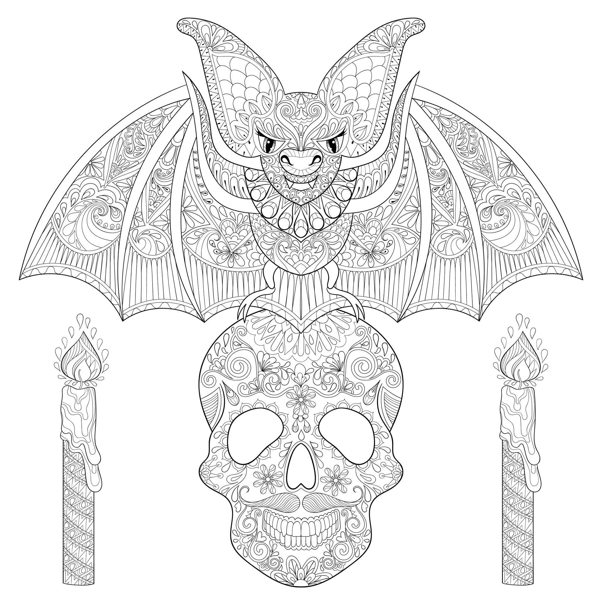 image=halloween coloriage chauve souris sur crane 1