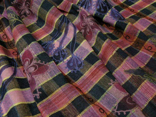 インド Mangalam 綿麻エンブロイダリー マドラスチェック フラワー刺繍 ピンクミックス B[オーダーカット生地 10cm単位]【あす楽対応】【HLS_DU】【RCP】【楽天市場】