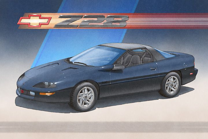 Here Is The 1993 To 1997 Camaro Z28 Art Print Available In All Factory Body Interior And Stripes Color Custom Change On The A Camaro Camaro Art Chevy Camaro
