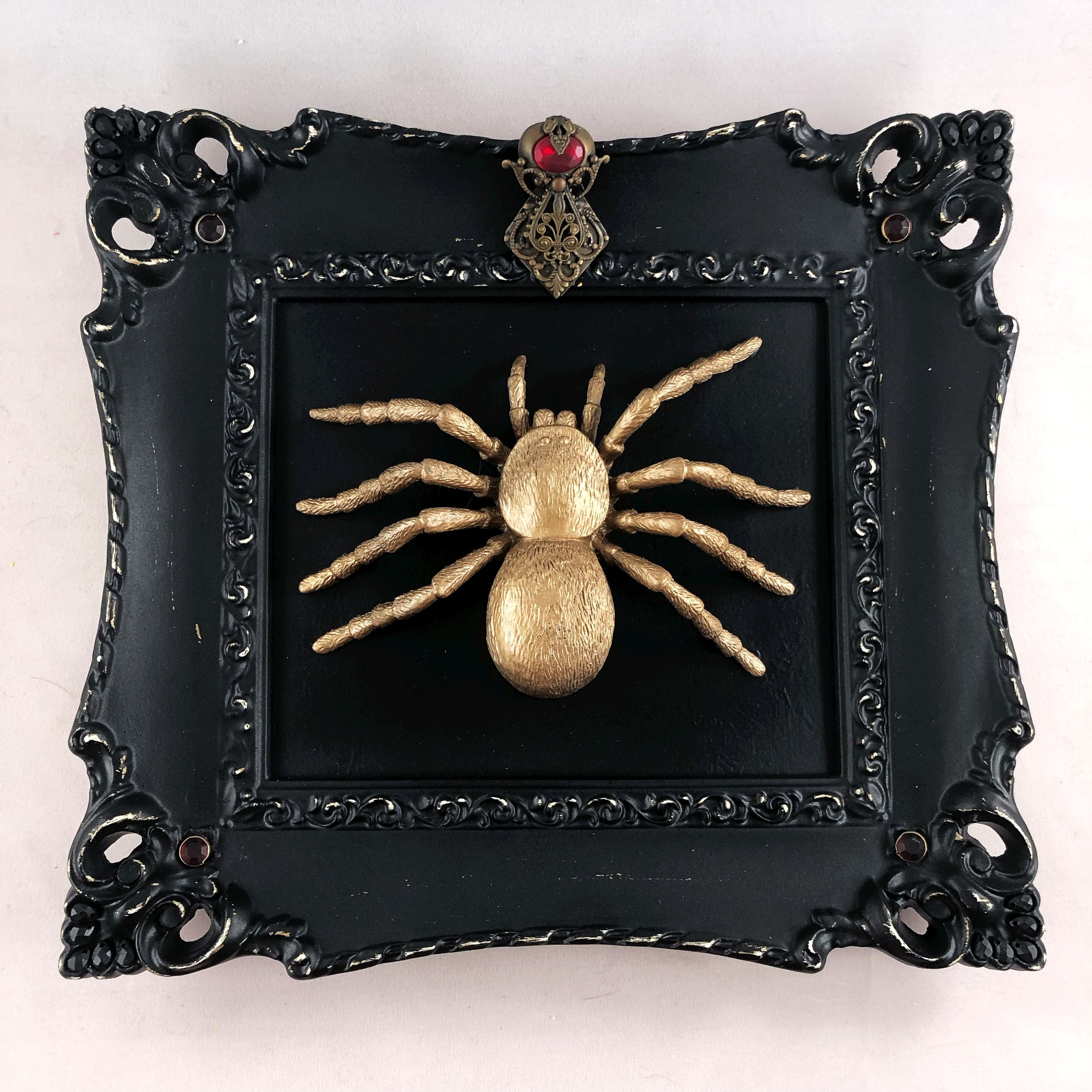 Faux taxidermy spider ornate jeweled frame gothic decor | Etsy