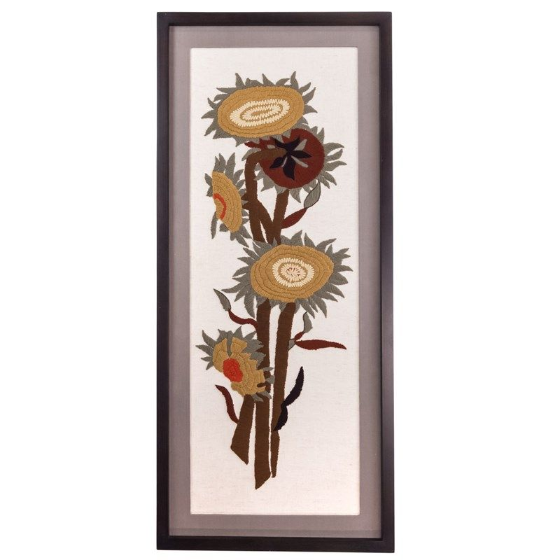 Our embroidered harvest flowers wall art is part of our signature harvest collection featuring autumn apparel accessories home decor and more