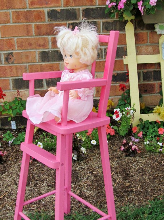 Doll High Chair  Hot Pink Child's Toy or Shabby Chic by catiques, $27.50