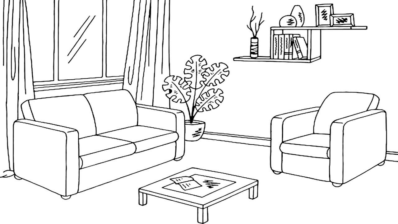 Coloring Pages How To Draw Living Room Page For Sketch ...