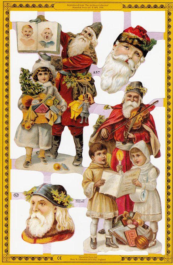 Victorian Santa Paper Scraps Christmas Ephemera Victorian Christmas Vintage Christmas Images