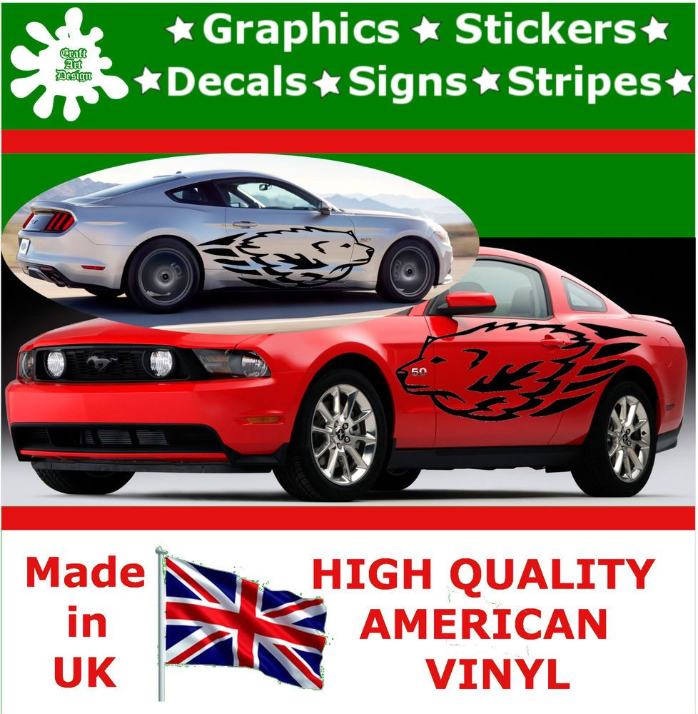 Car sticker design fire - 2 X Large Car Side Wolf Fire Flame Graphics 4x4 Decal Vinyl Stickers Wall Van 78