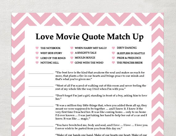 instant love quote matchup instant download bridal shower game bubblegum pink chevron