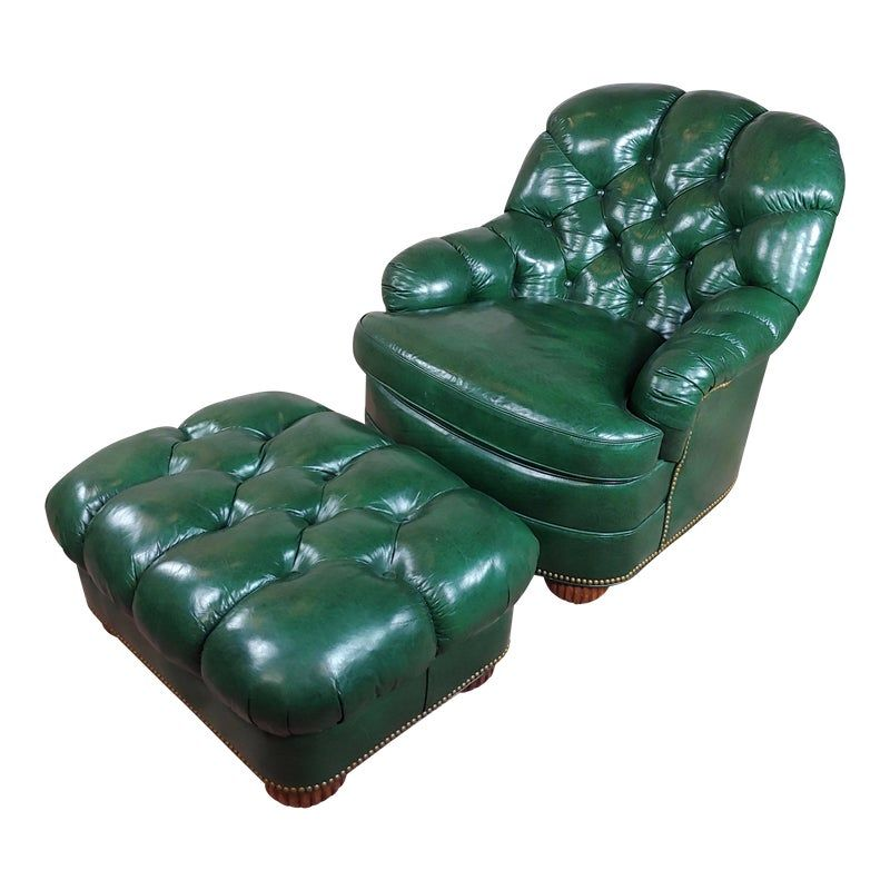 Admirable Hancock Moore Tufted Green Leather Club Chair With Ottoman Creativecarmelina Interior Chair Design Creativecarmelinacom