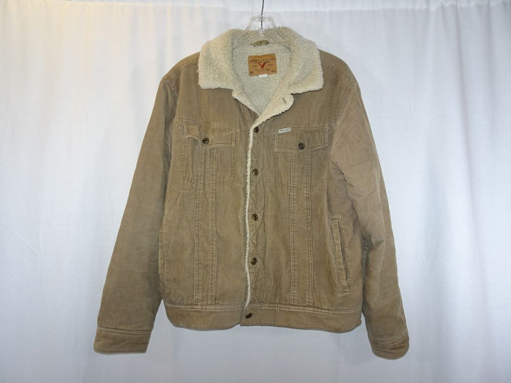 edeff2c90 American Eagle Outfitters Trucker Tan Corduroy Sherpa Fur Lined Coat ...