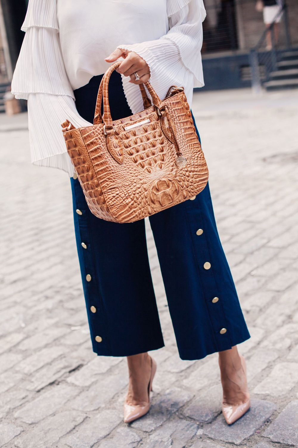 a3ab1060207f What to Wear to Work Workwear How to Style Petite Women Culottes Brahmin Bag  White Blouse Nave Pants Club Monaco NYC Fashion Blogger Corporate Catwalk  ...