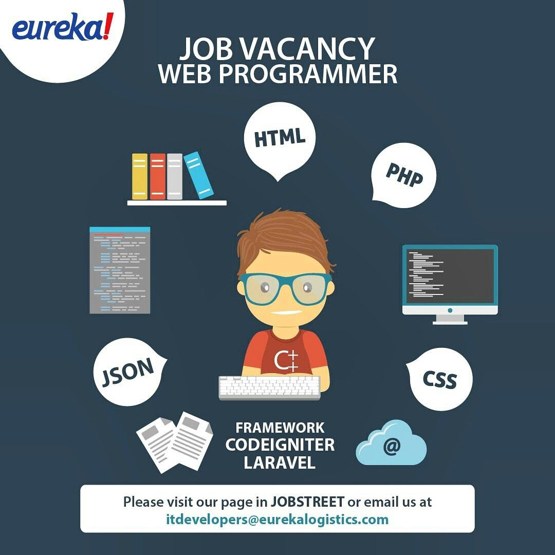 Job Vacancy Web Programmer Please Visit Our Page In Jobstreet Or Email Us At Itdevelopers Eurek Web Development Web Development Design Web Development Company