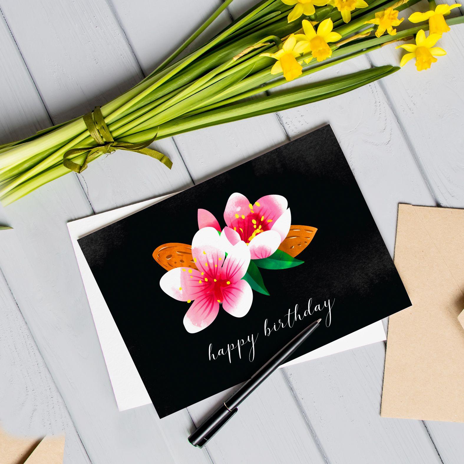 Blooming flowers birthday card flower birthday cards