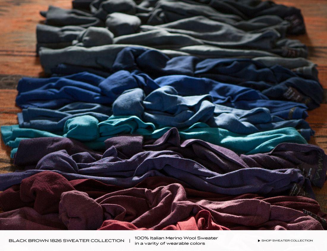 Sweaters | Black Brown 1826 | 100% Italian Merino Wool Sweater in ...