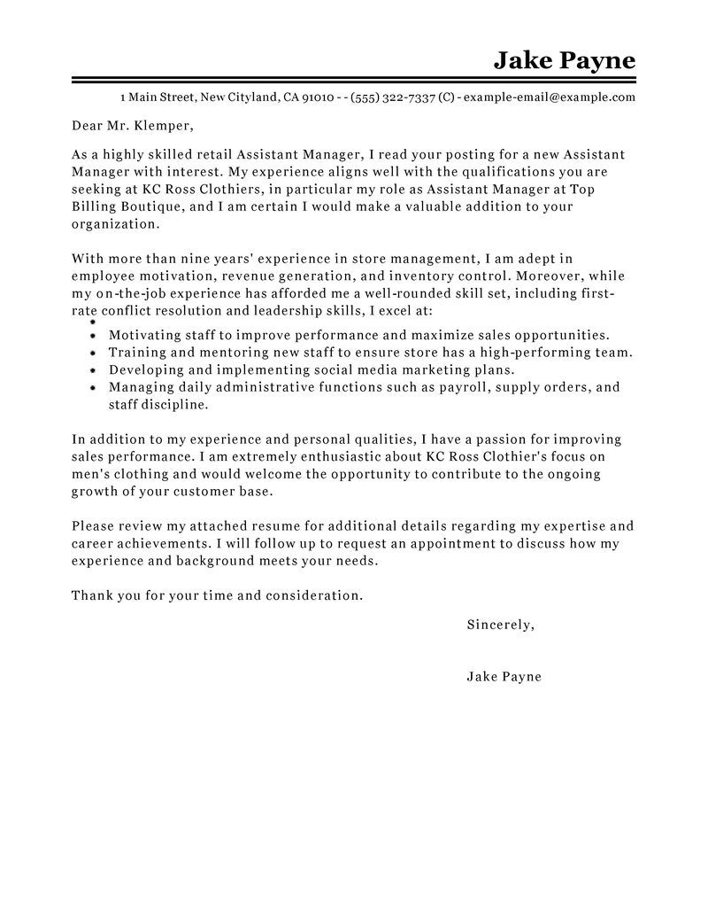 Best retail assistant manager cover letter examples for Sample ...