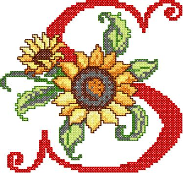 S from Sunflower Alphabet Cross Stitch