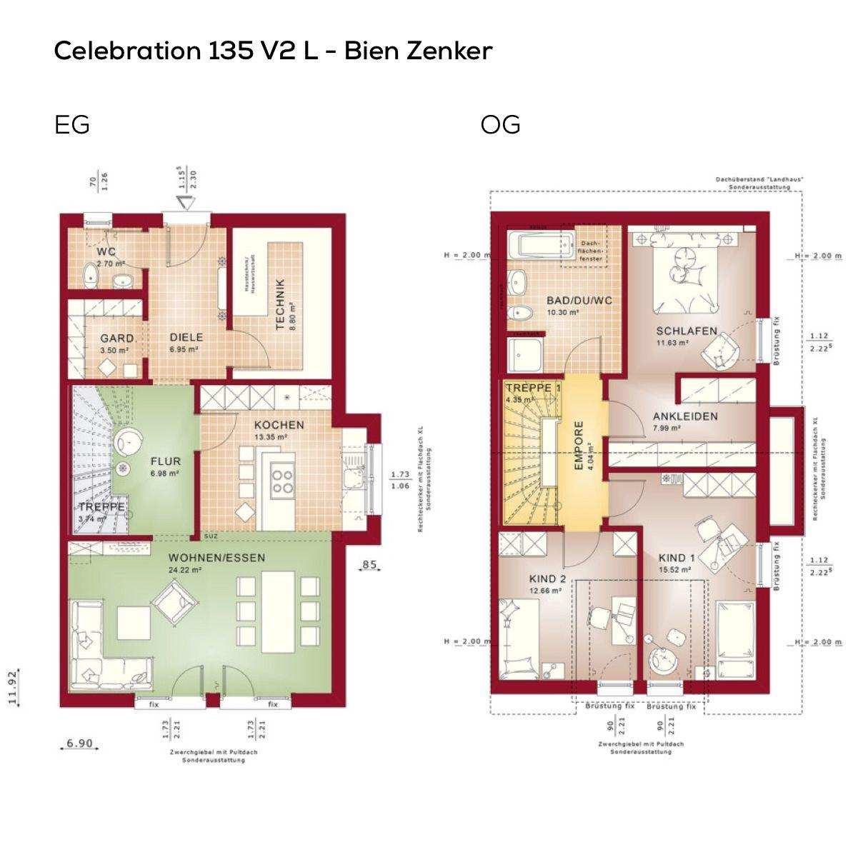 Grundrisse Doppelhaus mit Satteldach Architektur 4