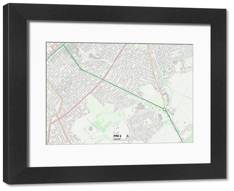 "Framed Print Sefton PR8 6 Map 14""x12"" inch Frame and mount made in the UK"