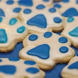 Sugar Cookie Icing Allrecipes.com  We could use these at RAH/CFAH gatherings-paws & Royal Blue frosting.