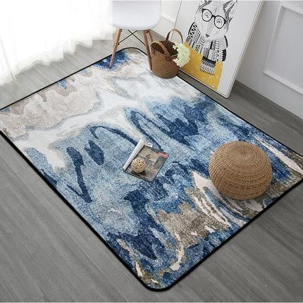 Blue Tan Abstract 4x6 Non Slip Padded Area Rug